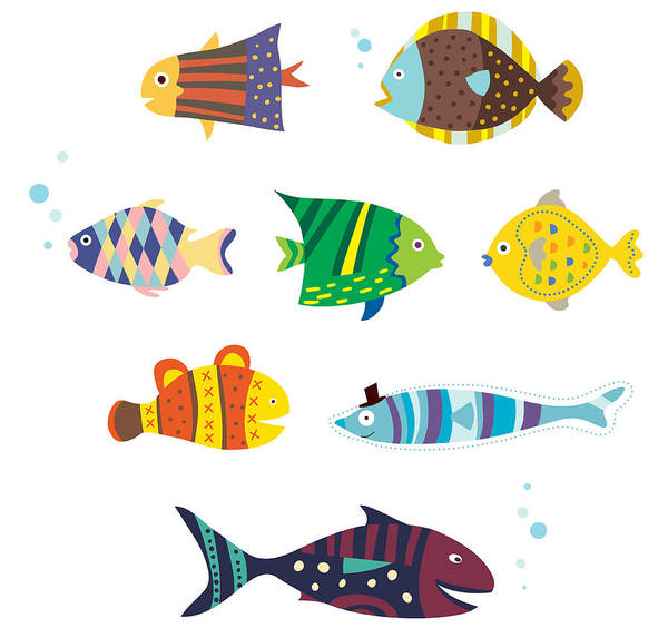 Horizontal Art Print featuring the digital art Various Fishes by Eastnine Inc.