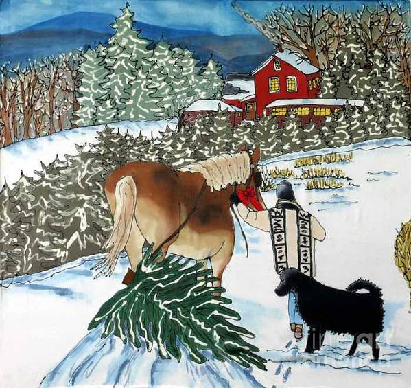 Christmas Art Print featuring the painting Bringing Home the Tree by Linda Marcille