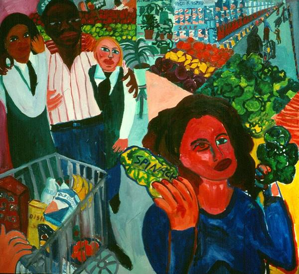 Self-portait In Urban Supermarket Art Print featuring the painting Broccoli or Spinach by Nina Talbot