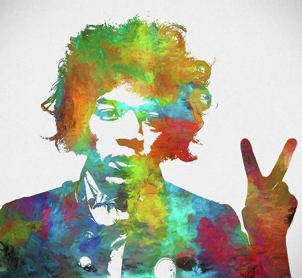Jimi Art Print featuring the painting Jimi Hendrix Peace by Dan Sproul