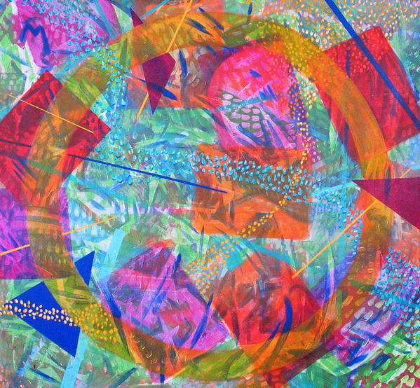 Abstract Art Print featuring the painting Microcosm IV by Rollin Kocsis