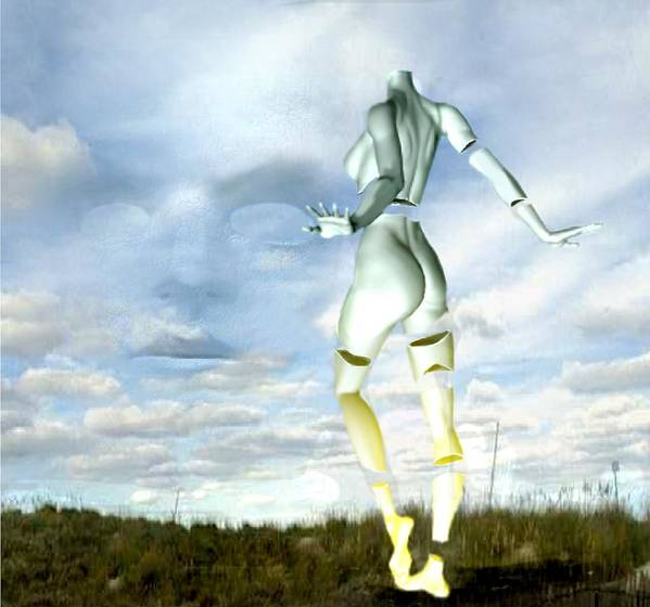 Sky Naked Woman Surreal Dance Art Print featuring the digital art Out of my mind... by Veronica Jackson