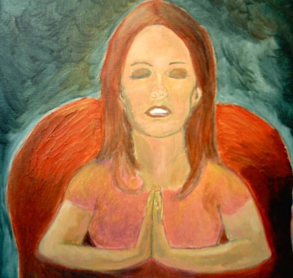 She Pray Art Print featuring the painting Storm Prayer by J Bauer