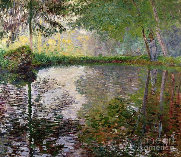 The Lake At Montgeron By Claude Monet (1840-1926) Art Print featuring the painting The Lake at Montgeron by Claude Monet
