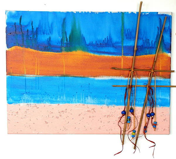 Sand Art Print featuring the mixed media West Beach by Lisabeth Billingsley