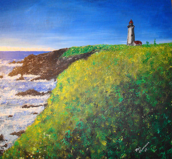 Lighthouse Art Print featuring the painting Yaquina Head Light by Phil Cashdollar