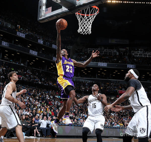 Nba Pro Basketball Art Print featuring the photograph Los Angeles Lakers V Brooklyn Nets by Nathaniel S. Butler
