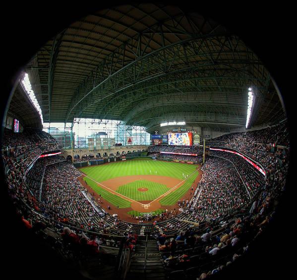 American League Baseball Art Print featuring the photograph Texas Rangers V Houston Astros by Bob Levey