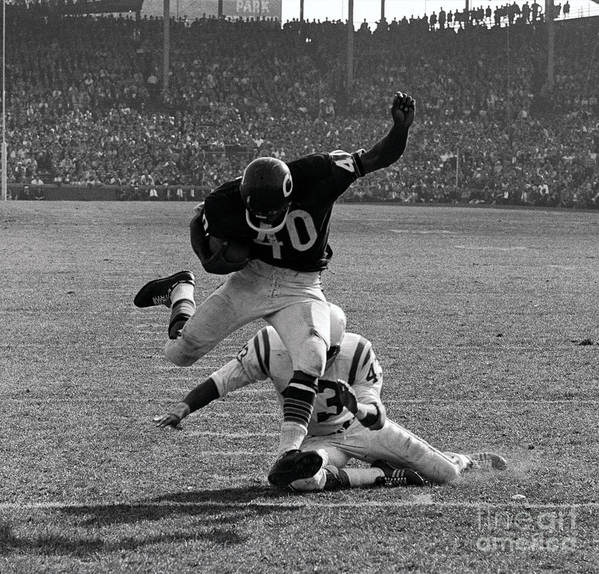 Young Men Art Print featuring the photograph Gale Sayers Eluding Tackle by Bettmann