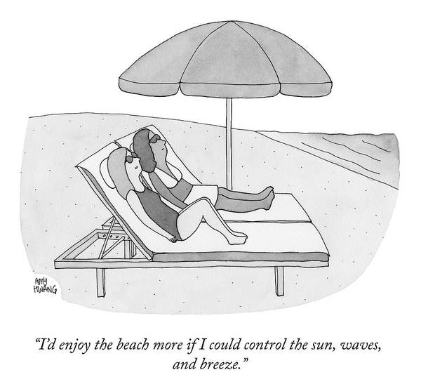 """i'd Enjoy The Beach More If I Could Control The Sun Art Print featuring the drawing If I Could Control the Sun by Amy Hwang"