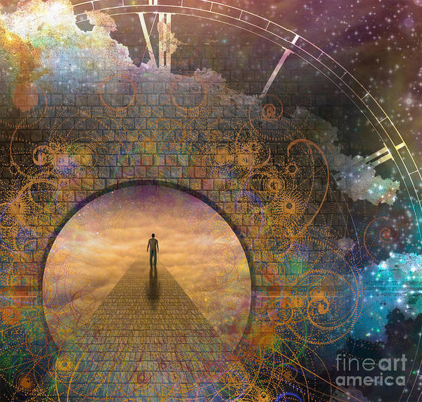 Door Art Print featuring the digital art Man On Path And Doorway With Aged Clock by Bruce Rolff