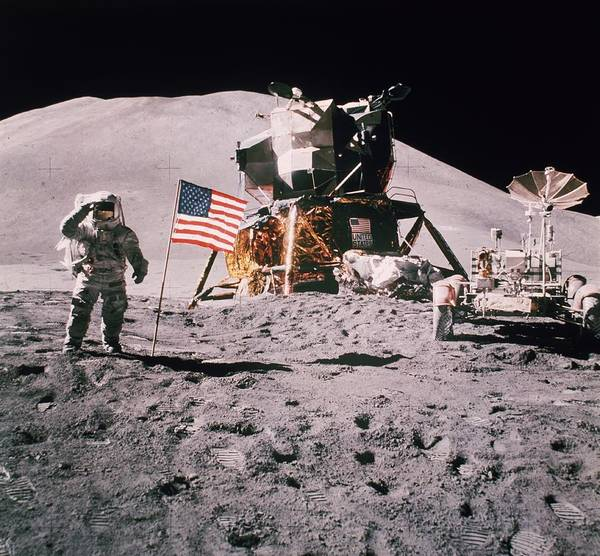 James Irwin Art Print featuring the photograph Salute The Moon by Hulton Archive