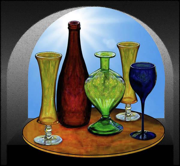 Still Life Art Print featuring the painting Still Life with Bottles by Hugo Heikenwaelder