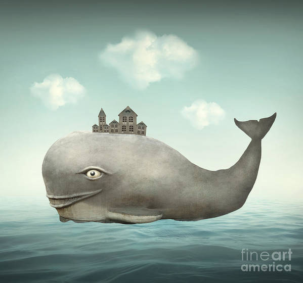 Big Art Print featuring the digital art Surreal Illustration Of A Whale by Valentina Photos