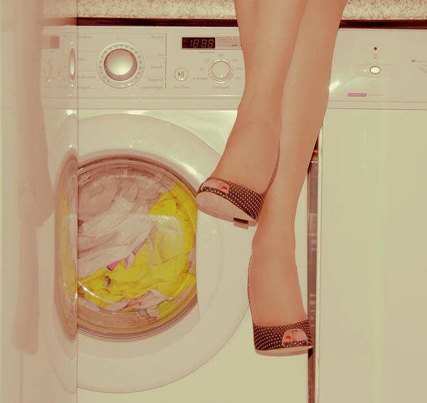 Laundromat Art Print featuring the photograph Vintage Laundry by © Angie Ravelo Photography