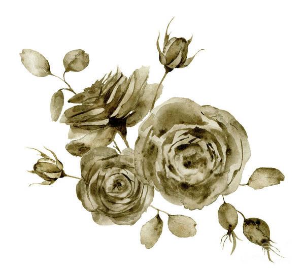 Art Art Print featuring the digital art Watercolor Monochrome Rose Bouquet by Yuliya Derbisheva