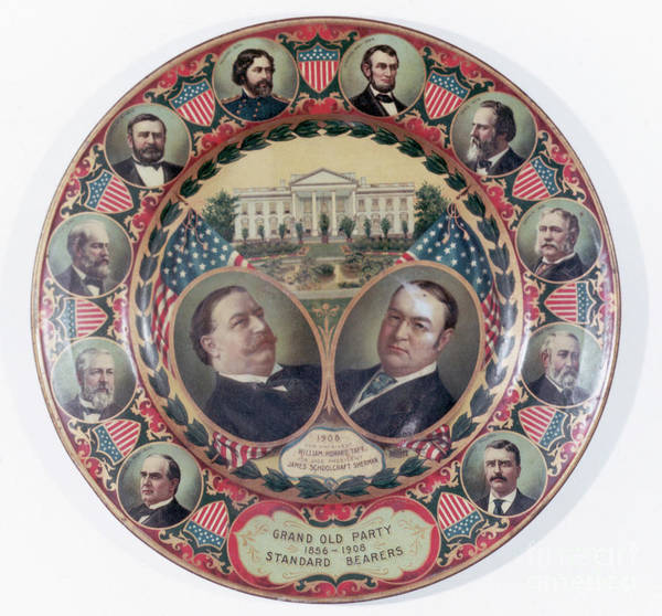 General Sherman Art Print featuring the photograph William-taft Election Souvenir Plate by Bettmann