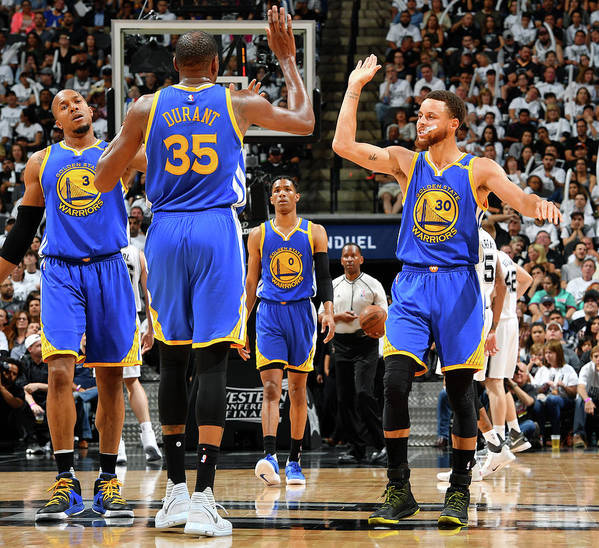 Playoffs Art Print featuring the photograph Stephen Curry and Kevin Durant by Jesse D. Garrabrant