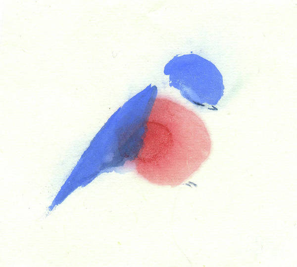 A Tired Little Bluebird Dozing Off. This Is A Contemporary Chinese Ink And Watercolor On Rice Paper Painting. Art Print featuring the painting A Little Bluebird III by Mui-Joo Wee