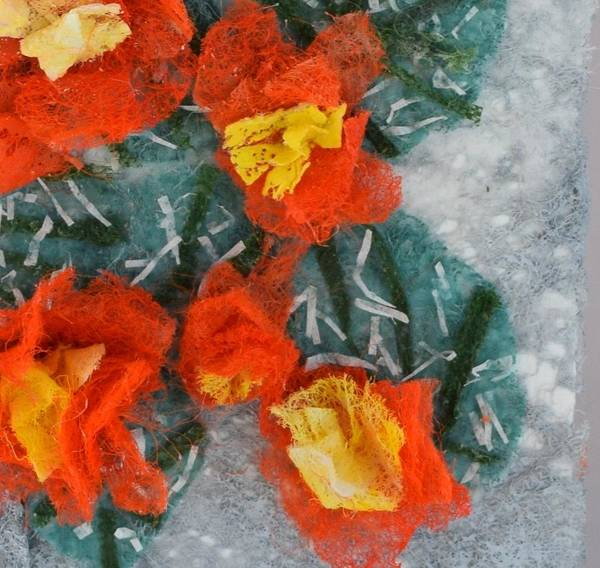 Dryer Sheets Art Print featuring the mixed media Cactus Flowers by Charla Van Vlack