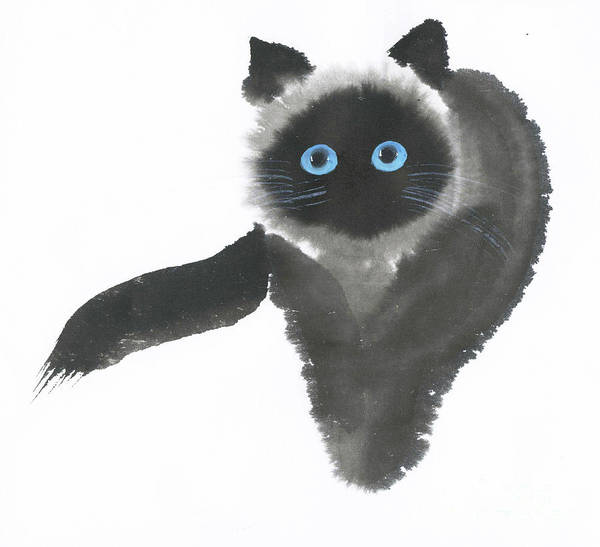 A Dignified Cat With Clear Eyes Is Starring Straight Ahead Intensely. It's A Contemporary Chinese Brush Painting On Rice Paper.  Art Print featuring the painting Clear-Eye by Mui-Joo Wee