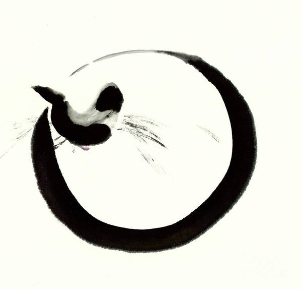 A Simple Image Of A Cat Curls Up For A Cozy Nap. It Is A Contemporary Chinese Ink And Watercolor On Rice Paper Painting. Art Print featuring the painting Deep Slumber by Mui-Joo Wee