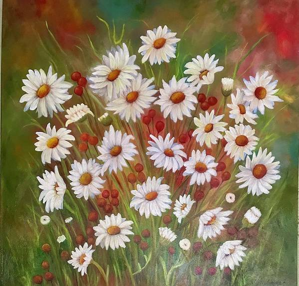 Floral Art Print featuring the painting Field of Daisies by Susan Dehlinger