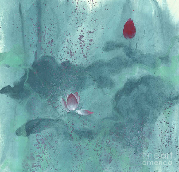 Emerged Out Of The Sludge Art Print featuring the painting For the Love of Lotus by Mui-Joo Wee