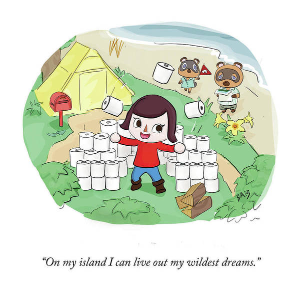 On My Island I Can Live Out My Wildest Dreams. Art Print featuring the drawing On My Island by Brooke Bourgeois