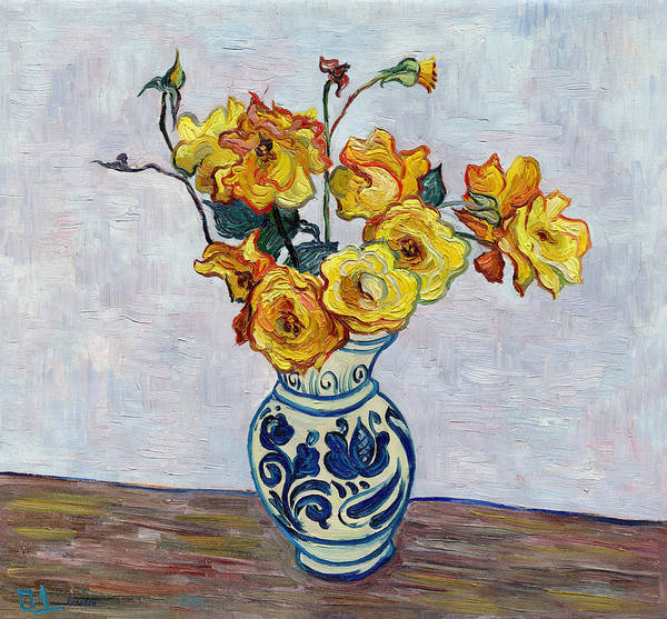 Rose Art Print featuring the painting Vase with yellow roses still life impressionism impasto painting by Vitali Komarov