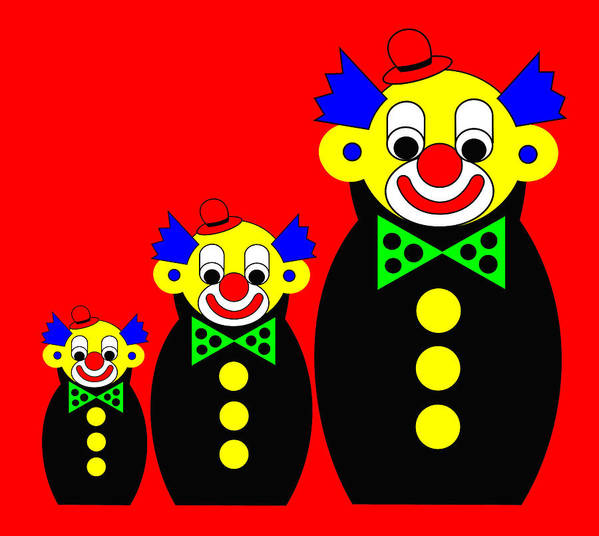 3 Russian Clown Dolls On Red Art Print featuring the digital art 3 Russian Clown Dolls on red by Asbjorn Lonvig