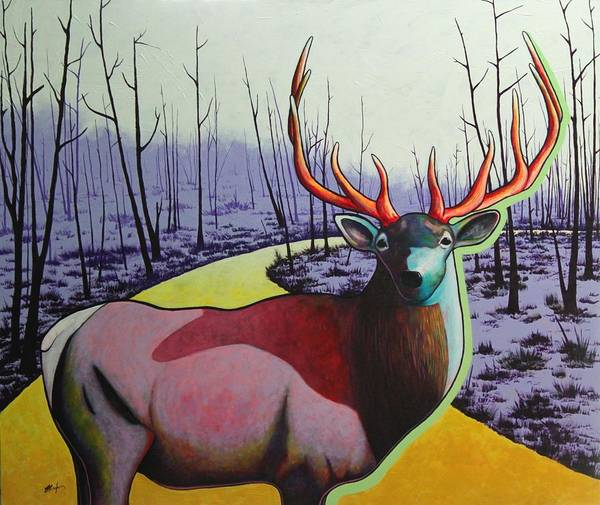 Wildlife In Yellowstone Park Art Print featuring the painting A Close Encounter in Yellowstone by Joe Triano