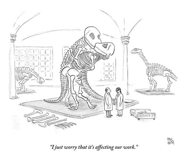 Scientists Art Print featuring the drawing A Male And Female Paleontologist by Paul Noth