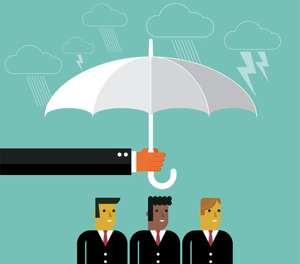 Problems Art Print featuring the digital art Businessmen Protection by Sorbetto