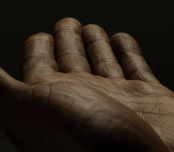 Empty Art Print featuring the photograph Close Up Of An Open Male Hands, Dark by Jonathan Knowles