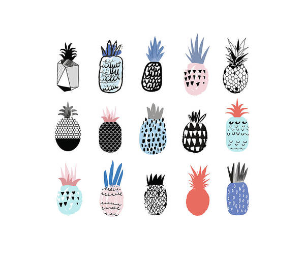 Art Art Print featuring the digital art Collection Of Cute Pineapples With by Loliputa
