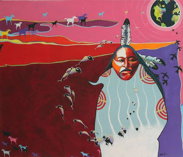 Native American Art Print featuring the painting Creation by Joe Triano