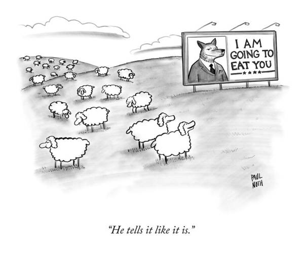 Sheep Art Print featuring the drawing He Tells It Like It Is by Paul Noth