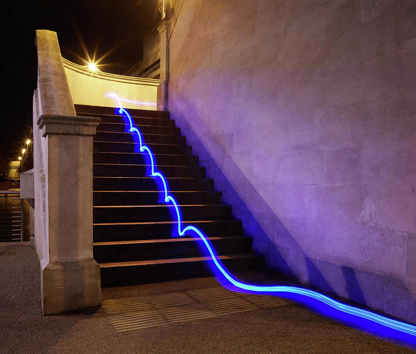 Steps Art Print featuring the photograph Light Trail On Steps by Tim Robberts
