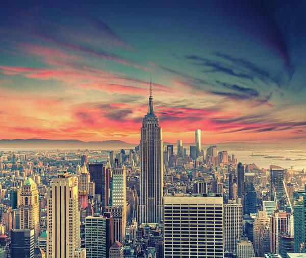 Panoramic Art Print featuring the photograph Manhattan by Zsolt Hlinka