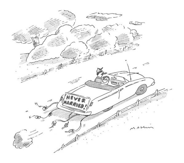 Marriage Art Print featuring the drawing New Yorker November 16th, 1998 by Michael Maslin