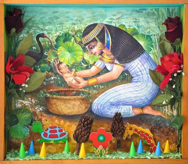 Nekoda Singer Art Print featuring the painting Pharao's daughter's catch by Nekoda Singer