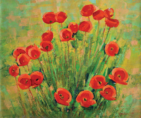 Poppies Art Print featuring the painting Poppies by Iliyan Bozhanov