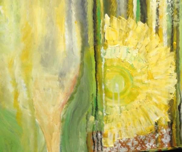 Bright Wine Yellow Summer Flower Glass Art Print featuring the painting Summer wine by Carol P Kingsley