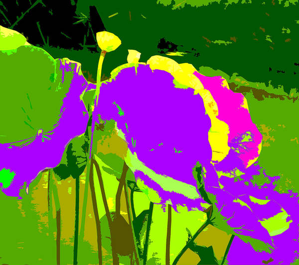 Lotus Art Print featuring the digital art The Lotus Abstraction by John Lautermilch