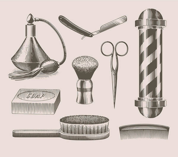 English Culture Art Print featuring the digital art Vintage Barbershop Objects by Darumo