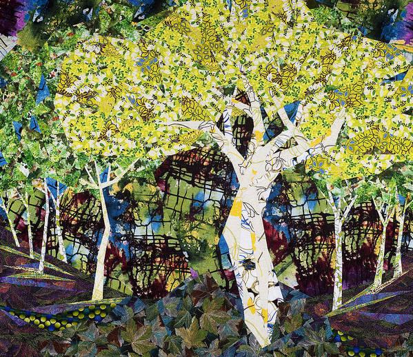 Landscape Art Print featuring the tapestry - textile White Trees by Linda Beach
