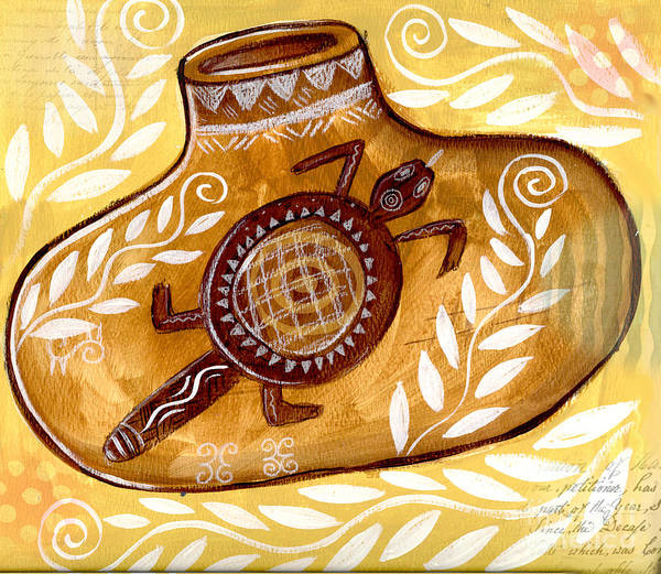 Collage Art Print featuring the mixed media Yellow Gourd by Elaine Jackson