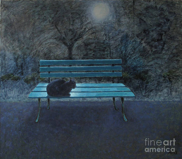 Black Cat Art Print featuring the painting Night in the Garden by Raimonda Jatkeviciute-Kasparaviciene