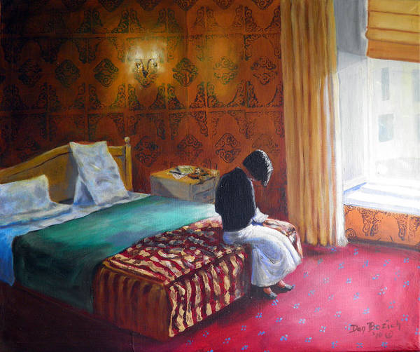 Small Hotel Room Interior Art Print featuring the painting Relais dei Papi Rome by Dan Bozich